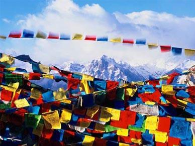 Lung Ta o bandiere di preghiere evocano la saggezza, l'amore, la compassione e la forza.