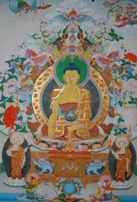 Holy thanka on Boddha Sakyamuni by the master Sonam Tanzin, Manali