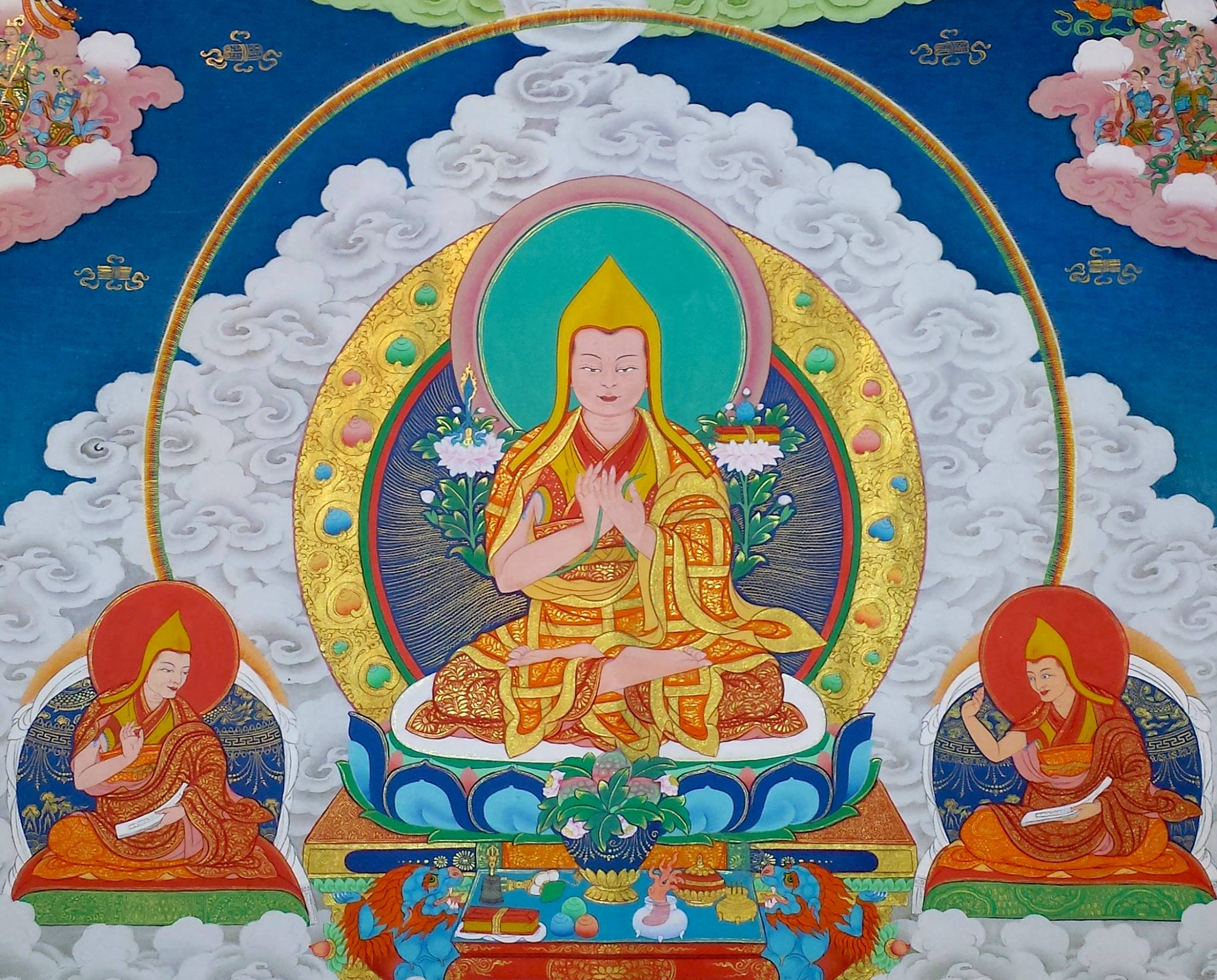 Lama Je Tsongkhapa: May the bliss of the mystical fusion of transcendent wisdom with tender compassion fall like sweet summer rain from dark blue clouds