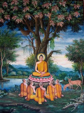 """Buddha Sakyamuni: """"Alla cessazione del godimento segue la cessazione dell'appropriazione; dalla cessazione dell'appropriazione la cessazione del divenire; dalla cessazione del divenire, la cessazione della nascita; dalla cessazione della nascita, la cessazione della vecchiaia e della morte""""."""