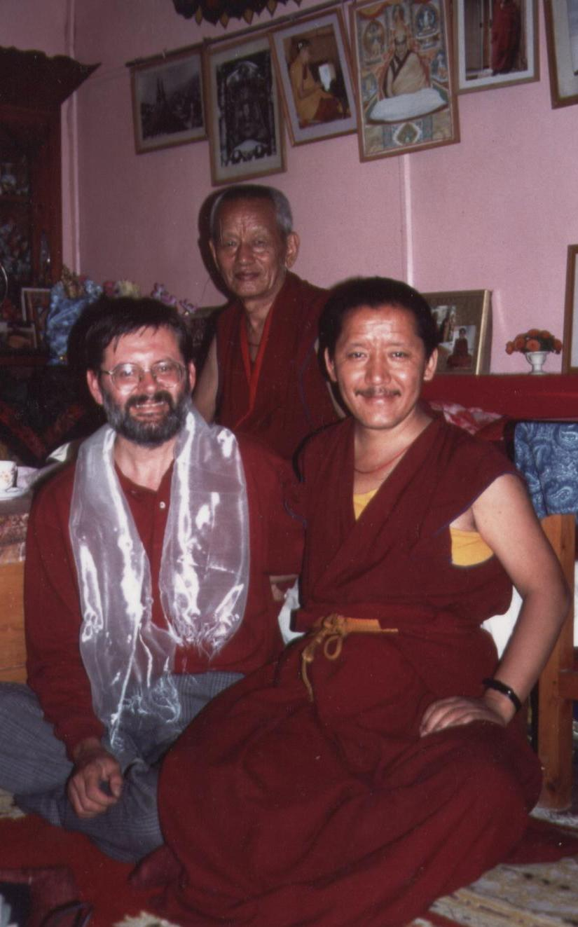Ven Gesce Yesce Tobten with his attendant Ven. Lobsang Donden and Dr. Luciano Villa in Dharamsala India