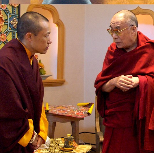 Sakyong Mipham Rinpoche greets His Holiness the Dalai Lama at Shambhala Mountain Center in 2006