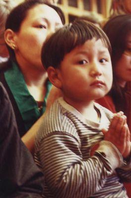 One child is praying