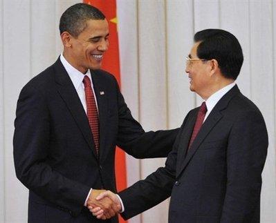 Barak Obama e il presidente cinese Hu Jintao