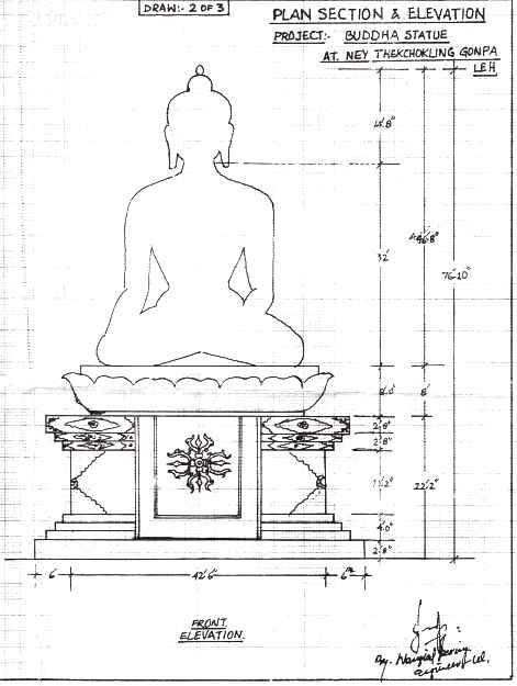 Un disegno del progetto della gran statua di Buddha Shakyamuni alta 25 metri in costruzione a Ney in Ladakh.