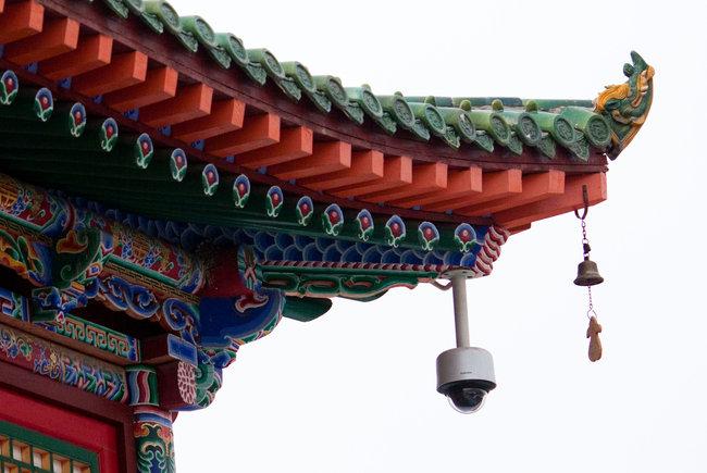 A security camera at a tibetan monastery.