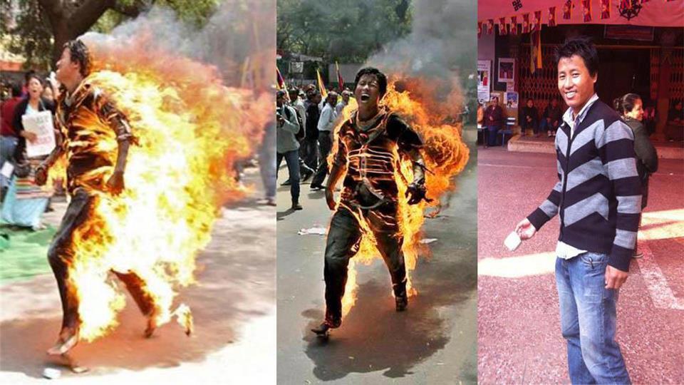 Tawu Jamphel Yeshi che si è immolato ieri colfuoco a Delhi per protestare contro la visita in India del premier cinese Hu Jin Tao.