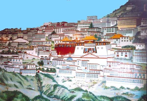 Il monastero di Ganden che fu completamente distrutto.