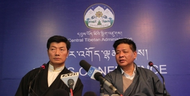 Speaker Penpa Tsering and Deputy Speaker Khenpo Sonam Tenphel of the Tibetan Parliament-in-Exile at the press conference.