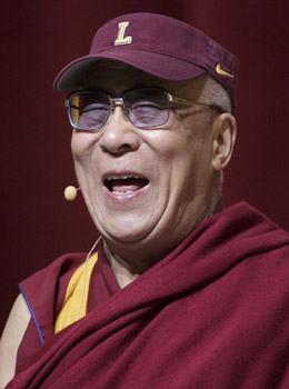 His Holiness the Dalai Lama during his talk at Loyola University in Chicago on April 26, 2012.