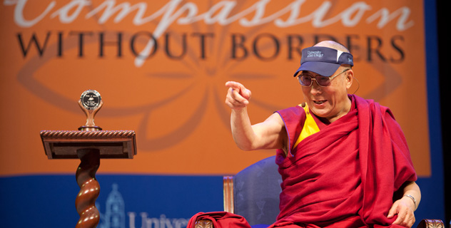 His Holiness the Dalai Lama during his talk at the University of San Diego on April 18, where he was presented with the University's Medal of Peace/OHHDL Photo