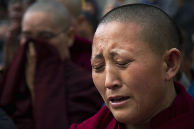Tibetans have protested what they call increasing repression by the Chinese authorities in the Tibetan-populated areas.