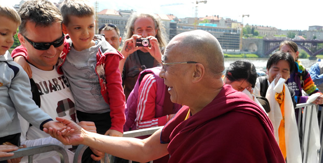 His Holiness the Dalai Lama greets well-wishers on his arrival at his hotel in Maribor, Slovenia, on May 15th, 2012.