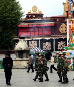 Chinese soldiers in Lhasa