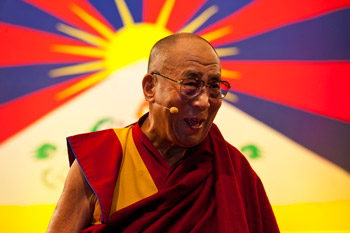 "His Holiness the Dalai Lama speaking at Royal Albert Hall during his talk ""Real Change Happens in the Heart"" in London, England, on June 19, 2012. Photo/Ian Cumming"