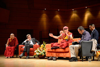 His Holiness the Dalai Lama speaking to a gathering of university students at the Dal Verme Theatre in Milan, Italy, on June 26, 2012. Photo/Tenzin Choejor/OHHDL