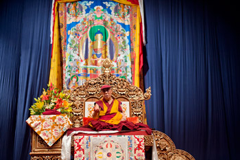 His Holiness the Dalai Lama during his teachings in Milan, Italy, on June 27, 2012. Photo/Tenzin Choejor/OHHDL