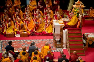 His Holiness the Dalai Lama during the Avalokiteshvara empowerment in Milan, Italy, on June 28, 2012. Photo/Tenzin Choejor/OHHDL