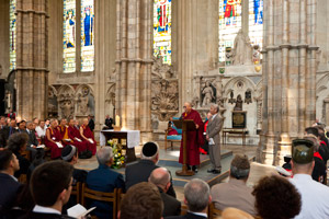 His Holiness the Dalai Lama addresses the congregation including representatives from different religious groups during a service of prayer and reflection at Westminster Abbey in London, England, on June 20, 2012.