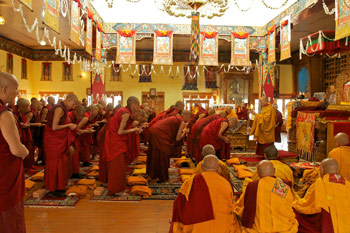 His Holiness the Dalai Lama giving Bhikshu ordination to a group of 50 Ladakhi monks at the Main Cathedral (Jokhang) in Leh Town, Ladakh, India, on July 26, 2012. Photo/Rosemary Rawcliffe