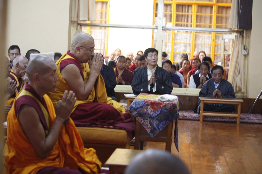 The abbot of Namgyal Monastery presides over the prayer service at Tsuglagkhang in Dharamsala on 16 August
