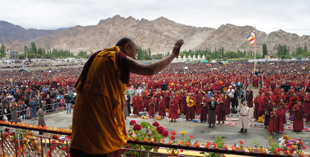 The crowd in front of the old teaching pavilion grows in anticipation of His Holiness the Dalai Lama's arrival for the fourth day of teachings in Leh, Ladakh, J&K, India, on August 7, 2012. Photo/Jeremy Russell/OHHDL