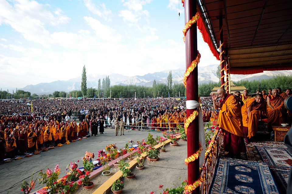 His Holiness the Dalai Lama giving Buddhist teaching in Leh, Ladakh