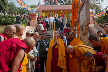 His Holiness the Dalai Lama on his arrival at the Mahabodhi Stupa in Bodh Gaya on December 31, 2011. Photo/Tenzin Choejor/OHHDL