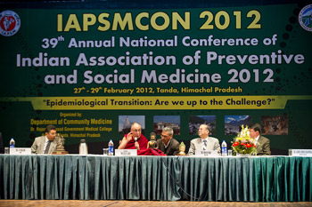 His Holiness the Dalai Lama responding to questions at the 39th annual Indian Association of Preventative and Social Medicine 2012 national conference in Kangra, HP, India, on February 28, 2012. Photo/Tenzin Choejor/OHHDL