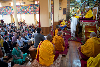 His Holiness the Dalai Lama giving teaching at the Main Tibetan Temple in Dharamsala, India, on October 2012