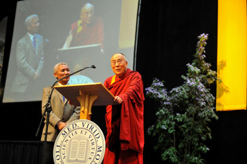 "His Holiness the Dalai Lama: ""The possibility of creating a more peaceful world is dependent on developing concern for others' well-being, another word for which is compassion""."