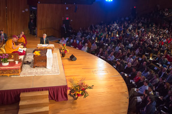His Holiness the Dalai Lama during his teachings at MIT's Kresge Auditorium in Boston, MA, on October 16, 2012. Photo/Christopher Michel