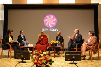 His Holiness the Dalai Lama and fellow panelists during the morning session of the Mind and Life XXV conference at Caspary Auditorium of the Rockefeller University in New York City on October 20, 2012. Photo/Mind and Life Institute