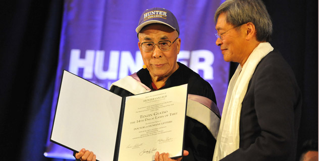 His Holiness the Dalai Lama is presented with an honorary degree from Hunter College in New York, NY, on October 19, 2012. Photo/Sonam Zoksang
