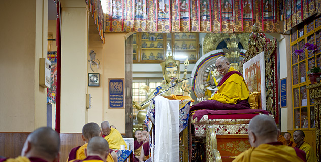 His Holiness the Dalai Lama speaking during the teaching at the request of a Taiwanese group in Dharamsala, India, on October 2012