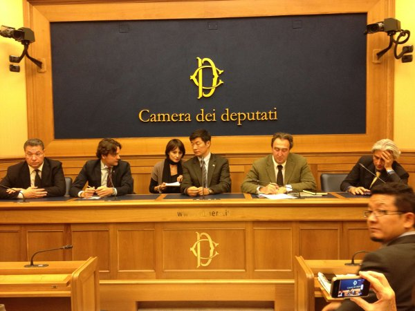 Press Conference at Italian Parliament: Matteo Mecacci MP, Sikyong Dr. Lobsang-Sangay and Gianni Vernetti MP
