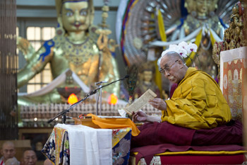 His Holiness the Dalai Lama: 'Because of the self-cherishing attitude we have, we need also to think of others; and of liberating all sentient beings. If you poke an insect, it will fly away. This shows that it does not want suffering. We should try to use our human minds to understand the true nature of things'.