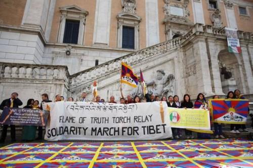 Manifestazione a Roma per i diritti umani in Tibet
