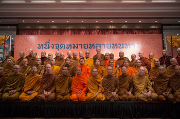 """His Holiness the Dalai Lama with members of the Thai monastic community who attended the discussion on """"Reaching the Same Goal from Different Paths?""""  in New Delhi, India, on December 16, 2012. Photo/Tenzin Choejor/OHHDL"""