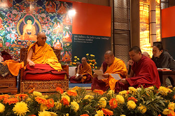 """Monks from Russia chanting the """"Heart Sutra"""" at the start of the second day of His Holiness the Dalai Lama's four day teaching to Russian Buddhists in Delhi, India, on December 25, 2012. Photo/Jeremy Russell/OHHDL"""