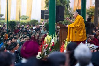 His Holiness the Dalai Lama speaking at the celebration of the Golden Jubilee of the Samyeling Tibetan Settlement in Delhi, India, on December 26, 2012. Photo/Tenzin Choejor/OHHDL