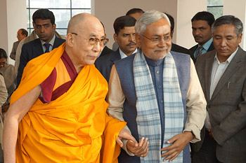 HIs Holiness the Dalai Lama with Bihar Chief Minister Nitish Kumar at the Chief Minister's residence in Patna, Bihar, India, on January 4, 2012. Photo/Jeremy Russell/OHHDL