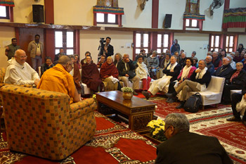 A small audience of 250 listening to His Holiness the Dalai Lama and Fr Laurence Freeman during their dialogue in Sarnath, Uttar Pradesh, India, on January 12, 2013. Photo/Jeremy Russell/OHHDL