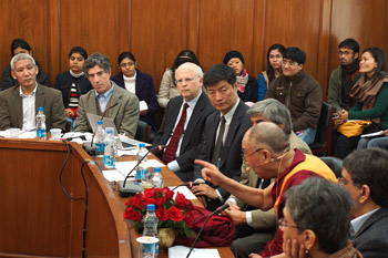 His Holiness the Dalai Lama speaking at the Science, Ethics and Education Dialogue at Delhi University on January 14, 2013. Photo/Jeremy Russell/OHHDL