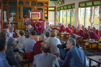 His Holiness the Dalai Lama speaking to senior monks and Mind and Life participants in his residence at Drepung Lachi Monastery in Mundgod, India, on January 16, 2013. Photo/Tenzin Choejor/OHHDL