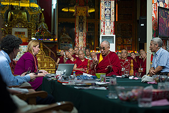 His Holiness the Dalai Lama talking with Tania Singer during her presentation at the Mind and Life XXVI meeting at Drepung Monastery in Mundgod, India, on January 19, 2013. Photo/Tenzin Choejor/OHHDL
