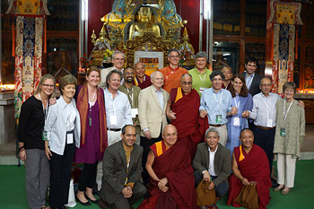 His Holiness the Dalai Lama with Mind and Life XXVI Conference participants at Drepung Monastery in Mundgod, India, on January 22, 2013. Photo/Jeremy Russell/OHHDL