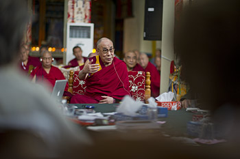 His Holiness the Dalai Lama speaking at the Mind and Life XXVI Conference held at Drepung Monastery in Mundgod, India on January 17-22, 2013. Photo/Tenzin Choejor/OHHDL