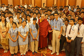 His Holiness the Dalai Lama poses with students who attended the interactive sessions in New Delhi on March 23, 2013. Photo/Jeremy Russell/OHHDL
