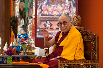 His Holiness the Dalai Lama speaking during the final day of his three day teaching in New Delhi, India, on March 24, 2013. Photo/Tenzin Phuntsog/NAVA